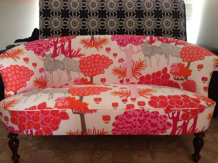 Our customer chose fabric from IKEA to cover this cute 2 seater Swedish settee.