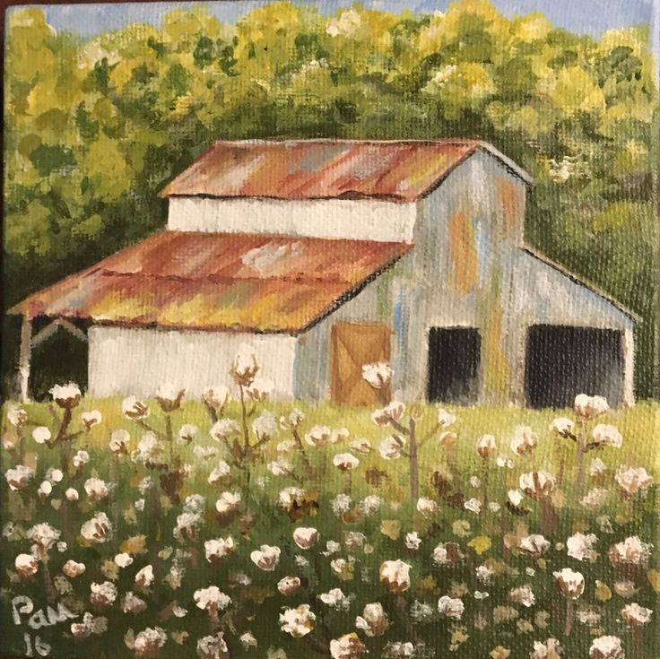 Cotton Field And Barn Painting 6x6 3D Canvas Acrylic   | eBay