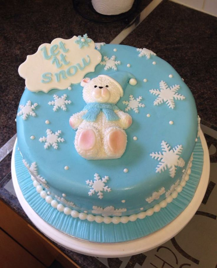 #Cute Polar Bear #Christmas #cake using our Large #Teddy mould http://www.karendaviescakes.co.uk/Moulds/?p=90&Large_Teddy