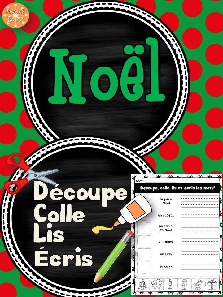 Noël - Découpe et colle. 36 mots de vocabulaire à travailler. Ces fiches peuvent être utilisées pour les 5 au quotidien ou dans les centres de littératie vu que les élèves les font de façon autonome.