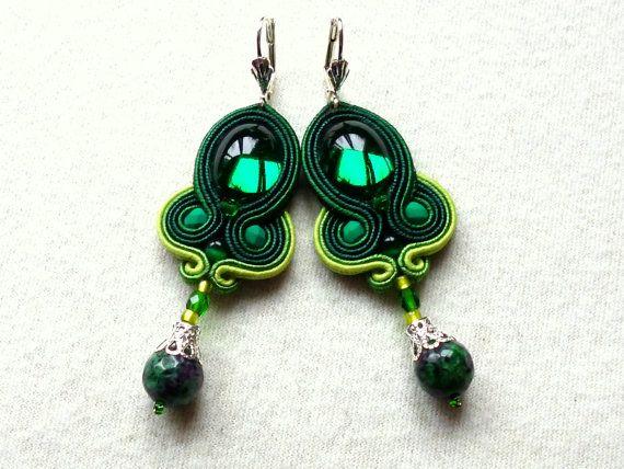 Soutache earrings Green Swarovski Elegant Ethno Boho by KCSoutache