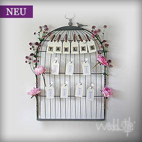Vogelkäfig für Tischkarten und Platzkarten. Kann an der Wand oder auf einer Staffelei befestigt werden.