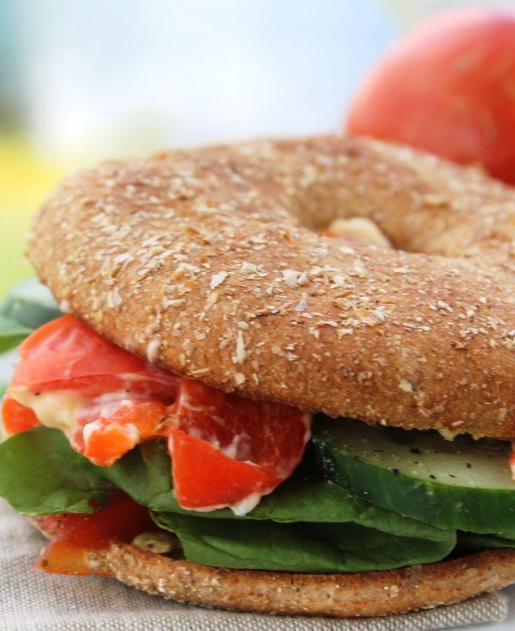 Veggie And Cheese Bagel Sandwich Recipe — Dishmaps