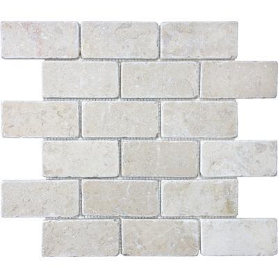 Anatolia Tumbled Berkshire Crema Brick Mosaics 2 Inches X 4 Inches Home Depot Canada