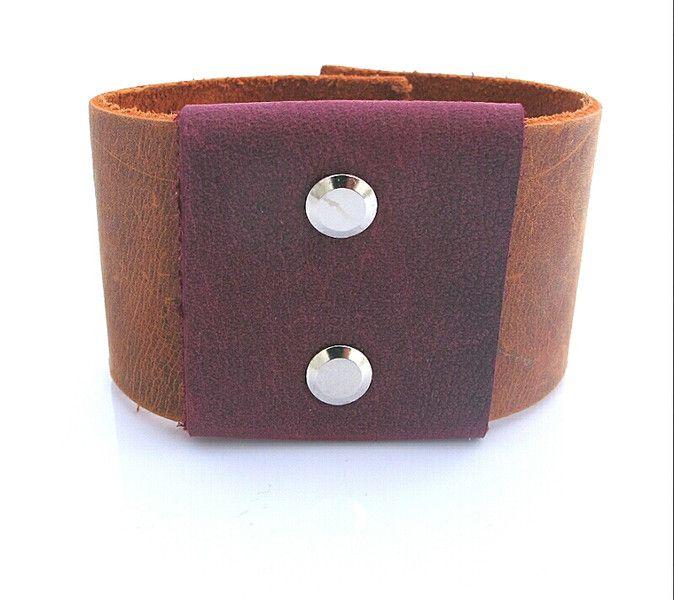 Naturleder Armband braun und violett von Lotka Art auf DaWanda.com