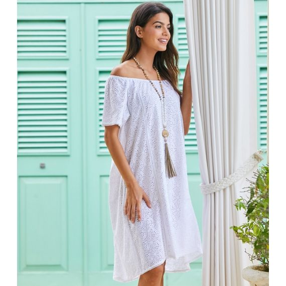 f35b965f1e Aspiga Ceu Off Shoulder Dress White. £70. The floaty summer essential in  white with an innocent