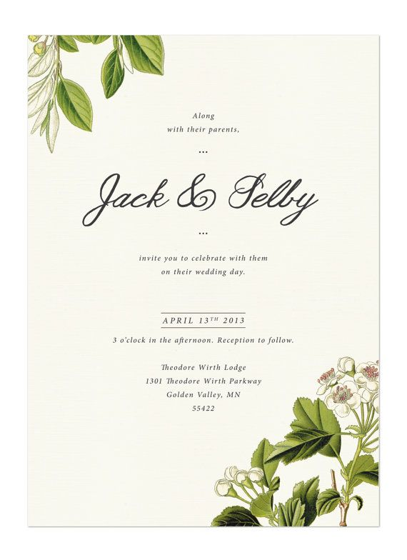Flora Invite  Vintage Botanical Wedding Suite by HairpinPress, $1.00