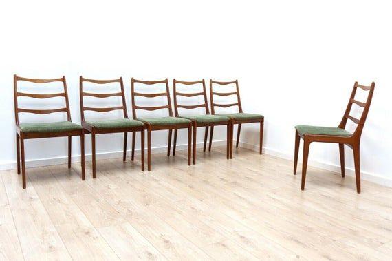 Stunning Set 6 Mid Century Vintage Danish Teak Ladder Back Dining Chairs 204 In 2020 Ladder Back Dining Chairs Dining Chairs Home Decor