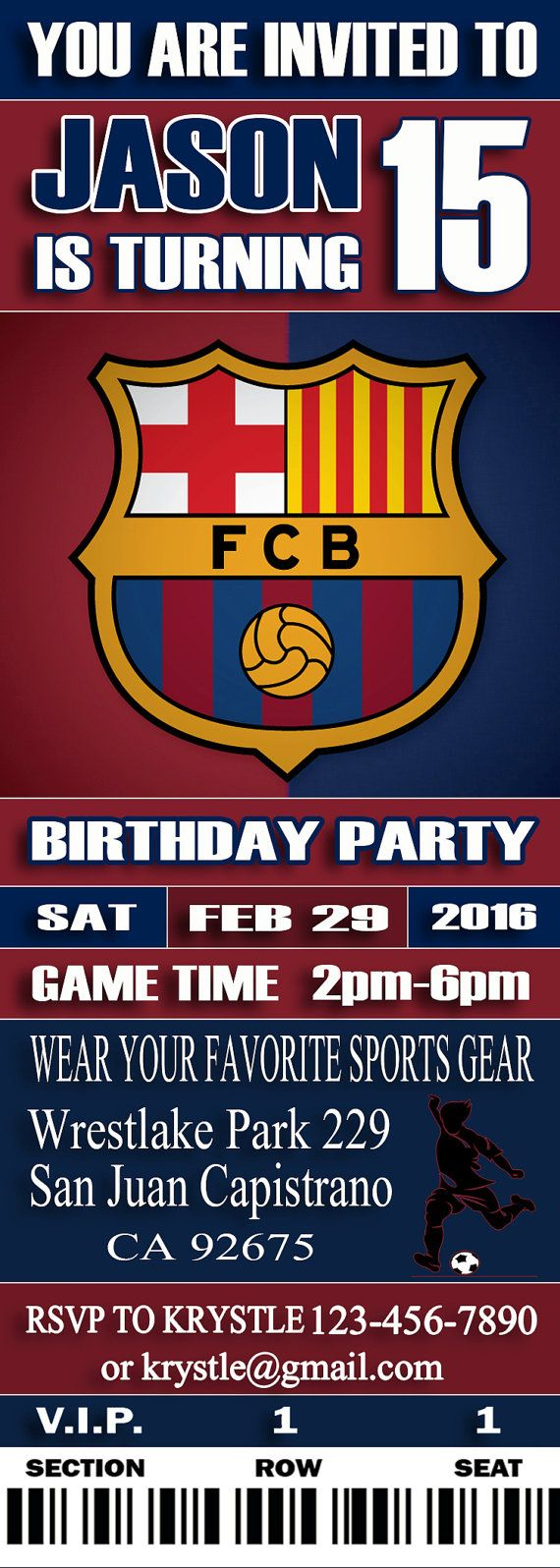 Fc Barcelona Birthday Party Pack-Personalized Printable Digital Birthday Party…
