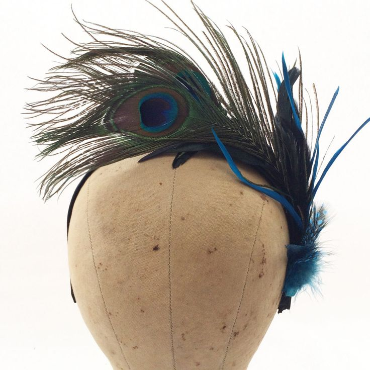 Peacock fascinator,black and white fascinator,fancy headband,peacock feathers,turquoise fascinator,  kentucky derby fascinator, great gatsby by CharmingLadyDesigns on Etsy www.charmingladydesigns.com