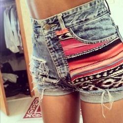 loveeeFashion, High Waist, Style, Tribal Shorts, Aztec Prints, Aztec Shorts, Jeans Shorts, Denim Shorts, Dreams Closets