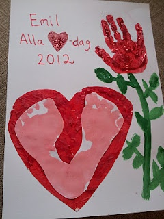 Valentine's day handprint and footprint craft.
