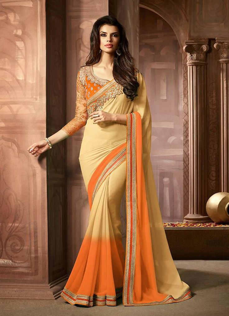 Make the heads flip when you costume up with this interesting Beige Georgette…