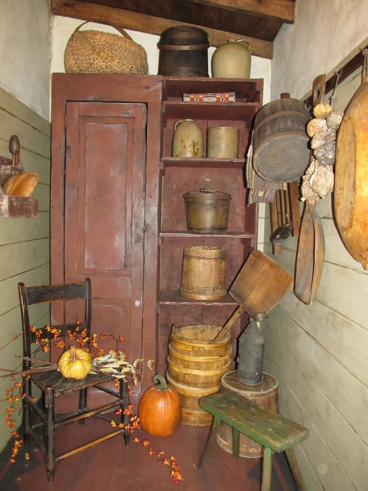 a Primitiques Cupboard & Buttery decorated with Primitives...for fall.