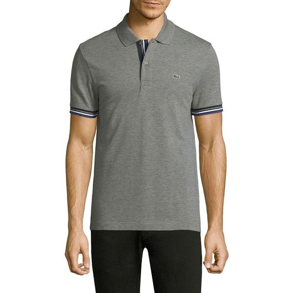 Lacoste Short-Sleeve Logo Cotton Polo ($74) ❤ liked on Polyvore featuring men's fashion, men's clothing, men's shirts, men's polos, mens short sleeve polo shirts, mens french cuff shirts, mens striped short sleeve shirt, mens striped shirt and mens cotton shirts