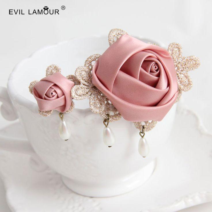Розовый цветок заколка аксессуары для волос резинка для волос украшения лента для волос для женщин волосы балет аксессуары цепи бесплатной доставкой US $4.69