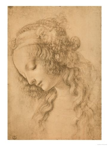 Study for the Face of the Virgin Mary of the Annunciation by Leonardo da Vinci. Giclee print from Art.com.