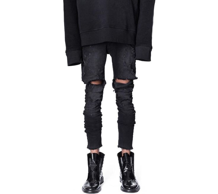 31.16$  Watch here - http://aliudo.shopchina.info/go.php?t=32807367413 - Cool Mens Hip Hop Jeans Skinny Pencil Men Denim Pants Destroyed Distressed Knee Ripped Jeans With Holes For Men 31.16$ #magazineonlinebeautiful