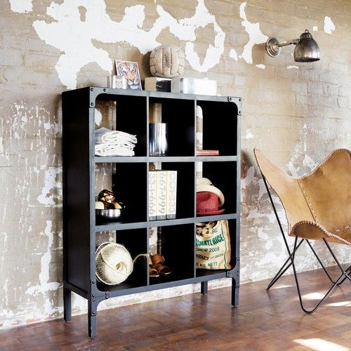 Industrial wood look metal shelf unit, W 95 cm, black