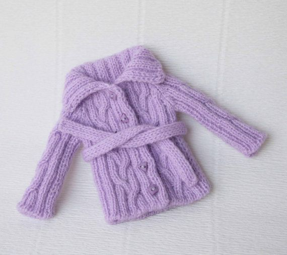 Lilac blythe cardigan Doll knit clothes Blythe jacket Miniature doll clothes 1/6…