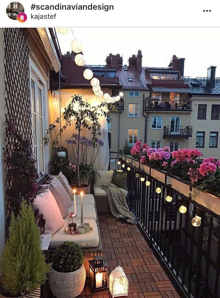 Beautifully Flowers Lights Long Narrow Set Smart Space Smart Use Of Long Narrow Apartment Balcony Garden Small Balcony Garden Small Balcony Decor