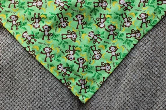 Bananas for You Monkeys Dog Bandana with Brown by MarysBigSheep, $14.00