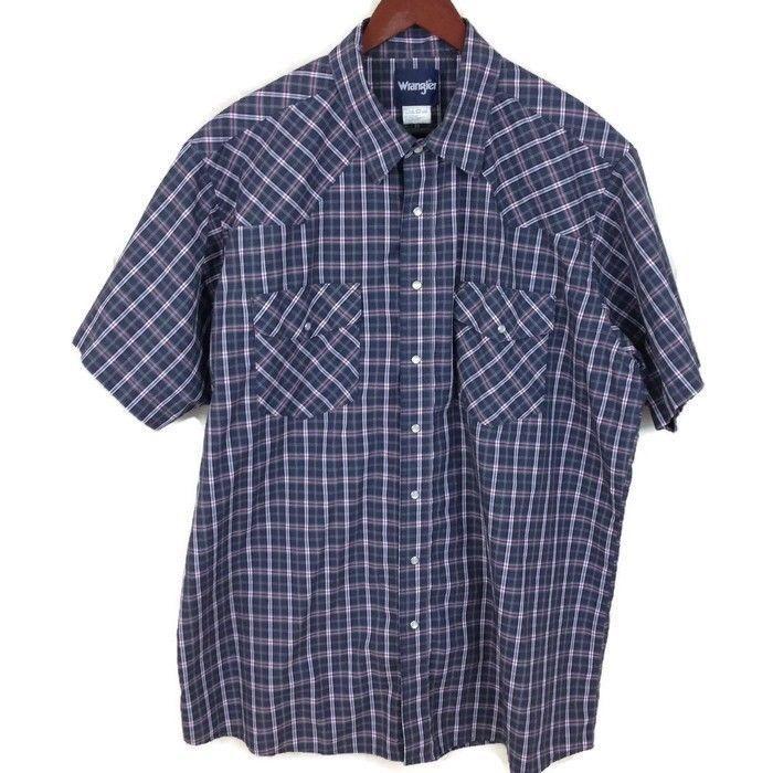 Wrangler Men's Western SS Pearl Snap Shirt Pockets Gray Red White Plaid Sz. 2XLT #Wrangler #Western