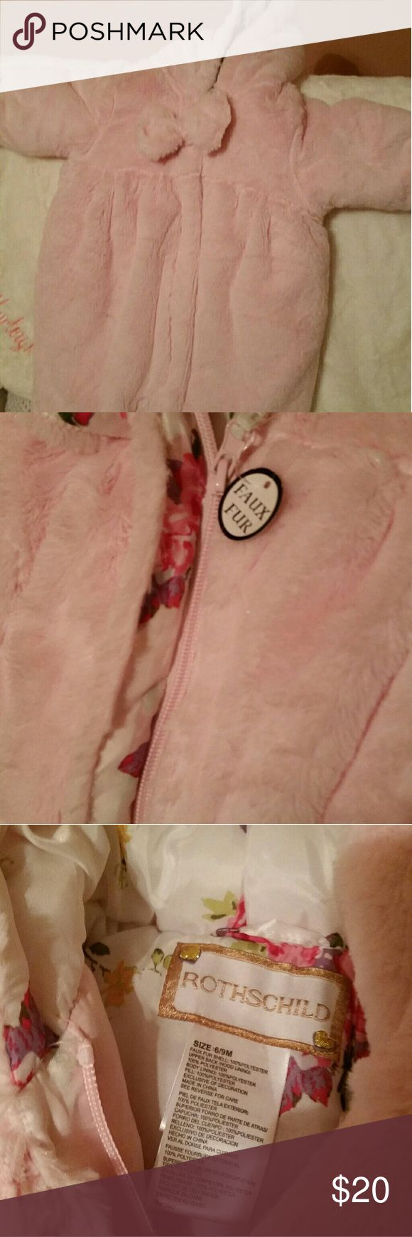 NWOT Rothschild faux fur infant snow suit NWOT. 6-9 months Bought for my daughter but she'll never be able to wear by the time we get another snow. :( It is absolutely adorable. Super cute bow to cover zipper, fold over hands and hooded. Still has one of the tags on it. Let me know if you would like more pictures. Rothschild Jackets & Coats Puffers #infantsnowsuit
