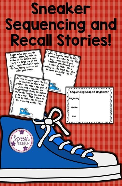 Sneaker Sequencing and Recall: A fun way for students to rearrange three paragraph texts and recall details! FIVE stories included PLUS a graphic organizer and review worksheet!