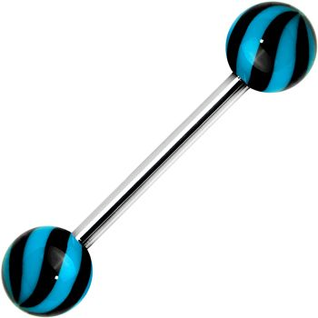 Blue Black Beach Ball Wave Barbell Tongue Ring   Body Candy Body Jewelry