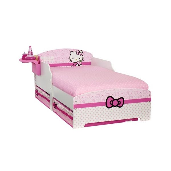 Lit d'enfant tablette Hello Kitty ruban.