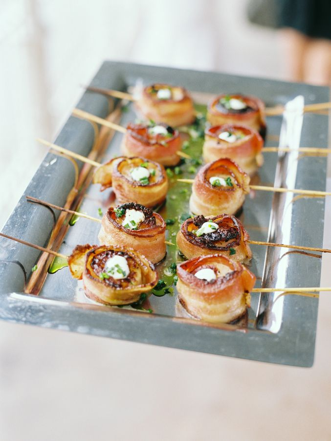 Bacon wrapped shrimp: http://www.stylemepretty.com/vault/image/2387352 Photography: Ashley Bosnick - http://www.ashleybosnick.com/