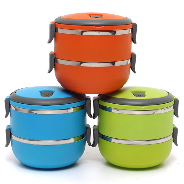 2 Layers 3 Styles Stainless Steel Lunch Box Portable Thermal Insulation Dinnerware Sets  Cheap - NewChic Mobile.