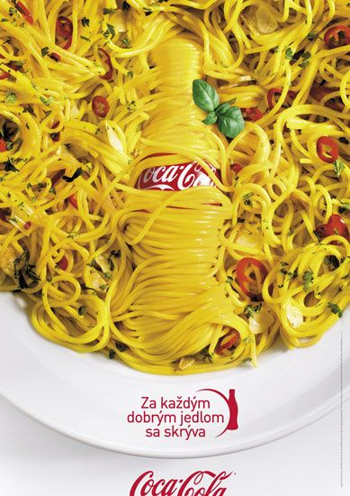 Coke & Meal. Print ad for campaign #letseattogether