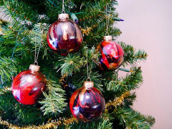 Christmas Baubles Glass by PenBeestonArtist on Etsy