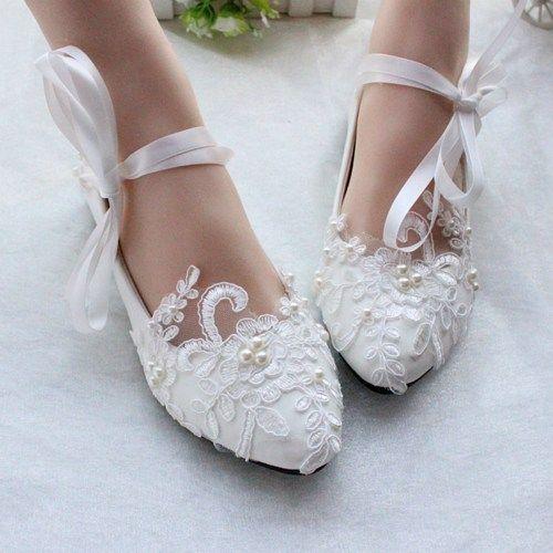 Sapatos de casamento branco / marfim, sapatos de dança de renda, apartamentos de noivas, apartamentos de casamento   – Wedding Dream Building