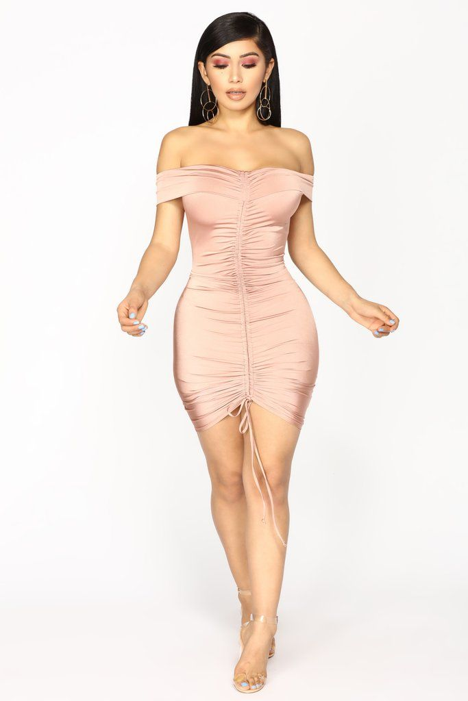 a9c3257e9ac9 Available In Mauve Ruched Dress Off Shoulder Sleeveless Fold Over Lined 96%  Polyester 4% Spandex Made in USA