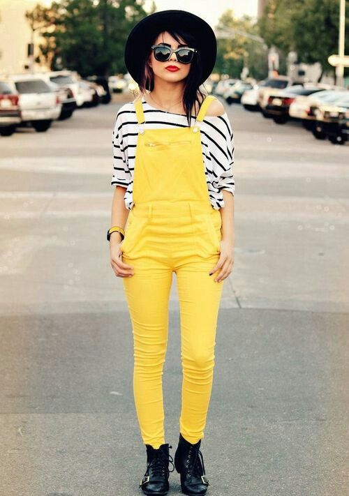 Hipster fashion---- yellow overalls!!!!!!!