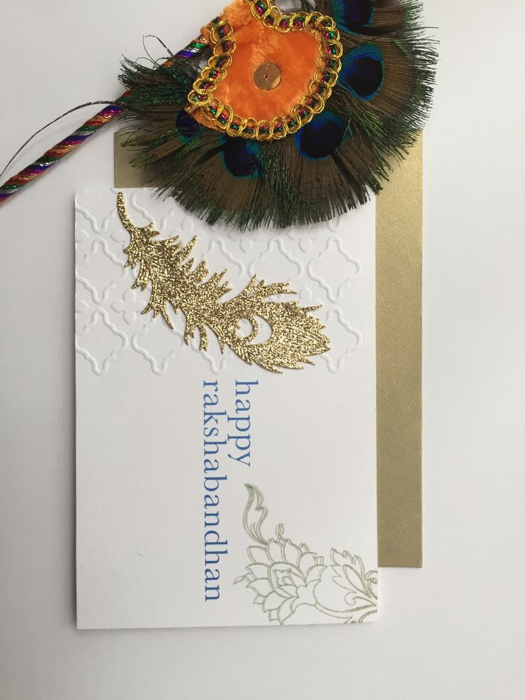 Handcrafted Raksha bandhan Cards - Mani's Creative Services-inspired by Krishna Bhagwan and peacock feathers