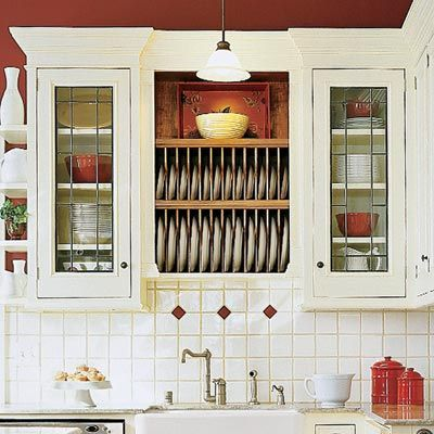 28 thrifty ways to customize your kitchen plate racks for Glass upper kitchen cabinets