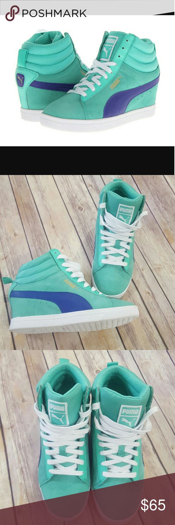 Puma Classic Wedge sneaker size 8 Pure classic Wedge sneaker in Electric Green size 8. Only worn a couple times. Wedge height is 3 inches. Suede upper, rubber sole. Excellent condition. Puma Shoes Sneakers