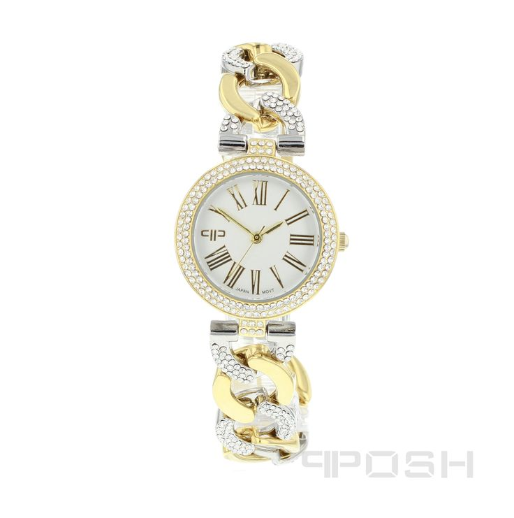 Lily - Watch - Silver and Gold Tone.  - Elegant roman numeral face design - Plated in a gorgeous 2-tone - Face features exclusive POSH design - Bracelet and full casing made in stainless steel - Embellished with sparkling clear stones - Water resistant up to 5 ATM - Extra links available - Japanese movement  Dimensions Face: 20mm diameter   POSH by FERI - Passion for Fashion - Luxury fashion jewelry for the designer in you.  #Jewellery   #watches