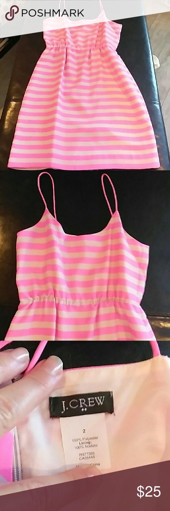 J Crew dress Pink and light pink striped dress, NEVER WORN,  hits at the knee J. Crew Dresses Midi