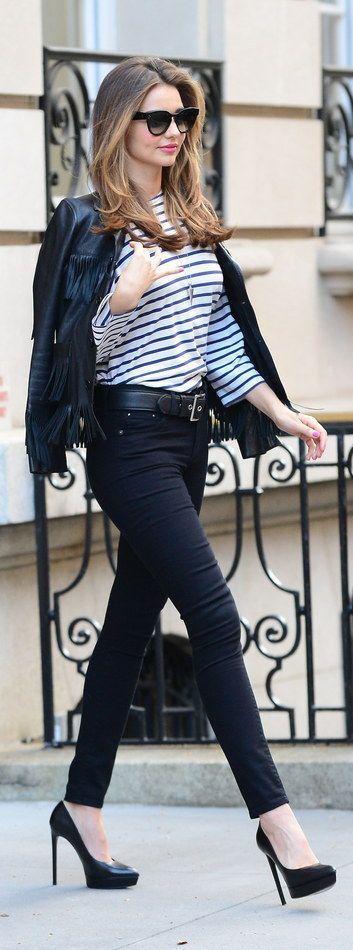 Miranda Kerr | stripped long sleeve + leather jacket + black, skinny jeans + black heels + hair down