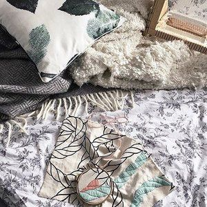 Regram from @groenemeyersaskia and her beautiful embroidery 🌿 featuring the Dark Spring Greens cushion 🍃