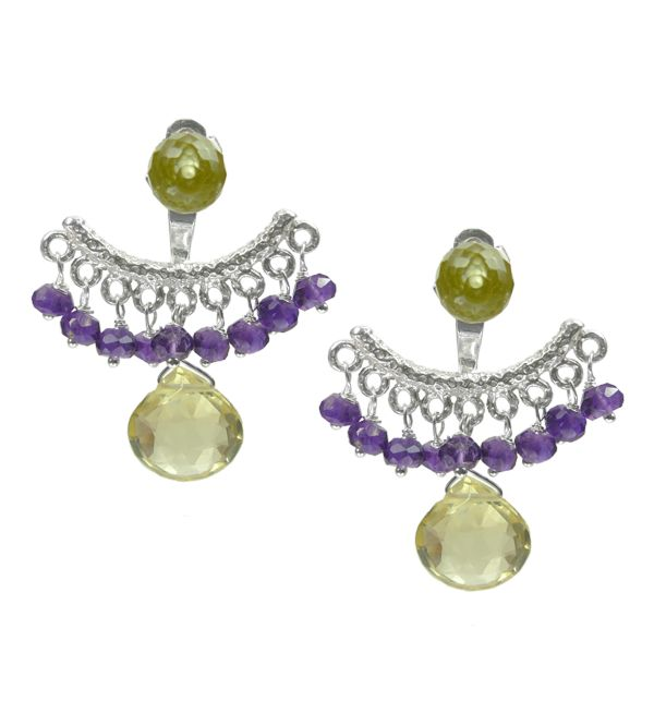 Mounir's earring jackets, the latest trend in earrings, will give an elegant edge to your look. This pair comes in sterling silver and has a cluster of Amethyts faceted beads and Lemon Quartz faceted stone. The back of the earrings is adjustable. Retailing at £108 http://www.mounir.co.uk/index.php?route=product/product&path=60_113&product_id=1984&limit=100 #ear4ringjackets #backtofront #earrings #mounir #jewellery #lemonquartz #adjustableearrings