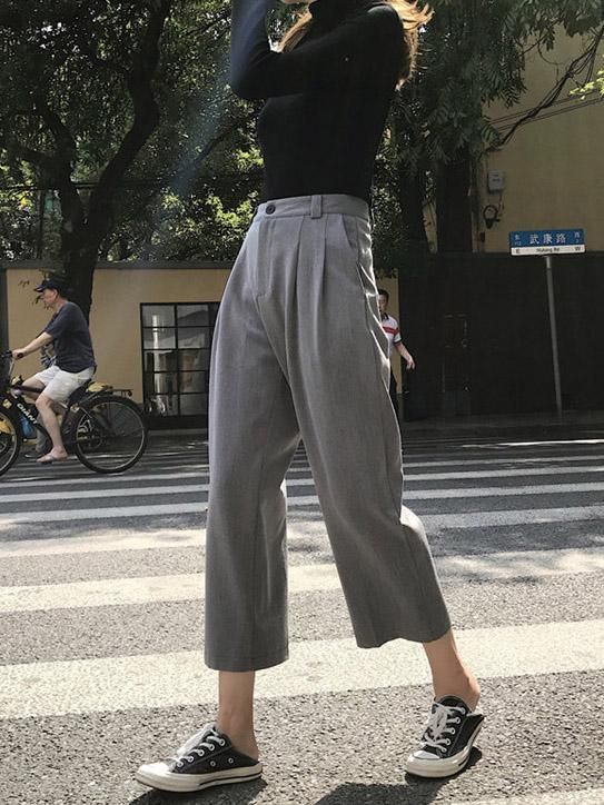 high waisted suit pants