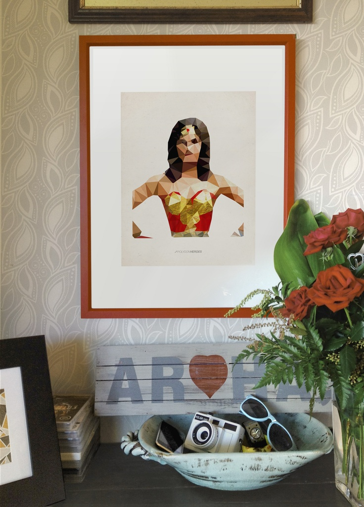 My Wonder Woman Polygon Heroes Illustration on our wall at home.