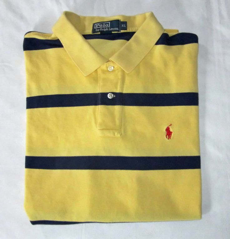 Ralph lauren yellow blue striped mens polo golf shirt for Yellow golf polo shirts