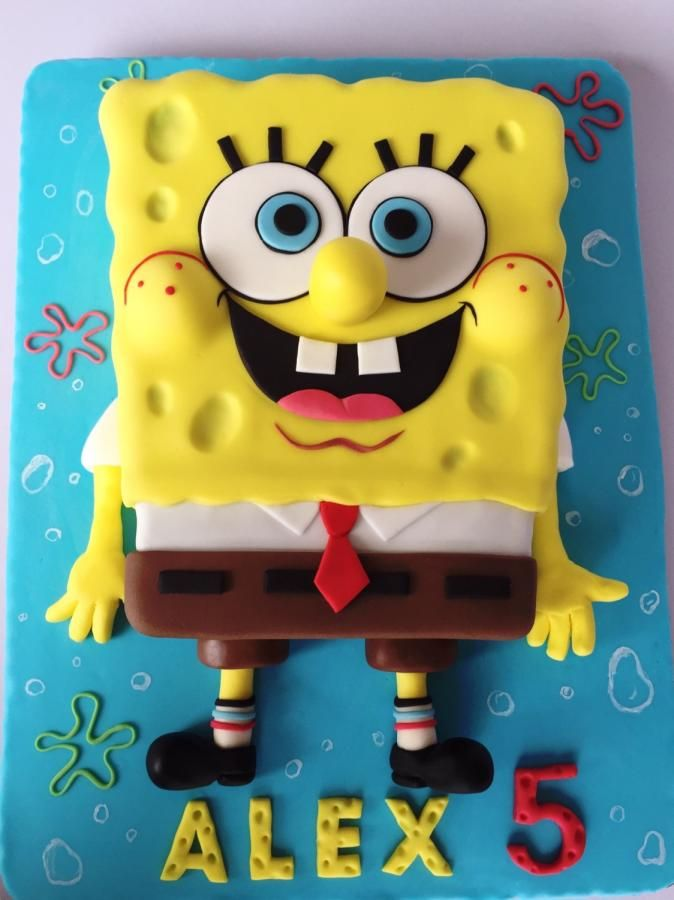 Incredible Spongebob Birthday Cake Cake By Layla A With Images Personalised Birthday Cards Bromeletsinfo